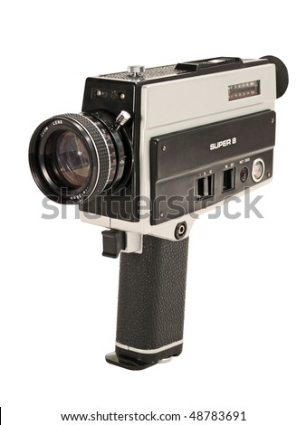 Antique Super 8mm film video camera, isolated. Clipping path is included