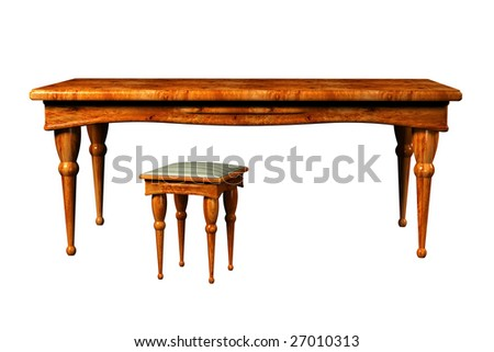 Antique Table and and stool 3d isolated over the white