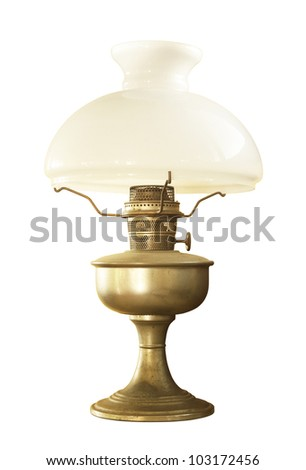 Antique table lamp isolated on white background