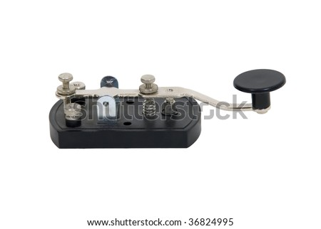 Antique telegraph key used as a communication device for Morse Code - path included