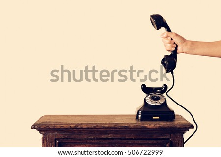 antique telephone receiver in...