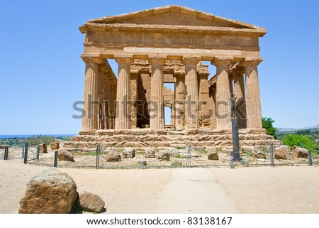 antique Temple of Concordia in Valley of the Temples, Agrigento, Sicily