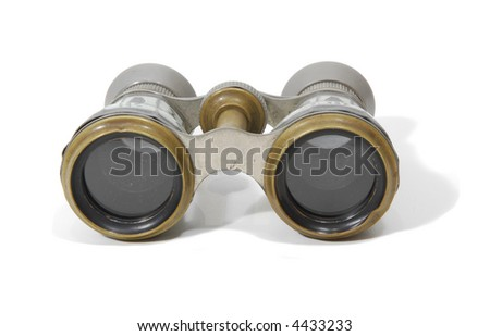 antique theater opera glasses isolated on white