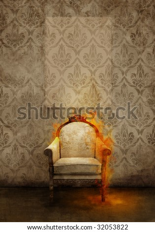 Antique throne in flame on ancient wall