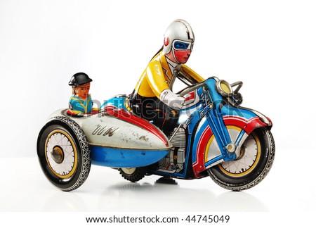 antique tin toy motorbike racer