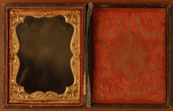 Antique tintype photo frame, late eighteenth early nineteenth century.