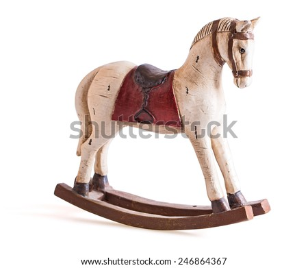 Antique toy rocking horse isolated on white