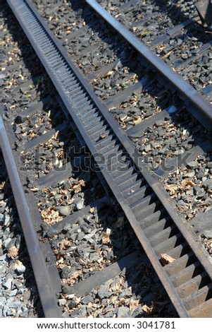 Antique train tracks with a chain movement