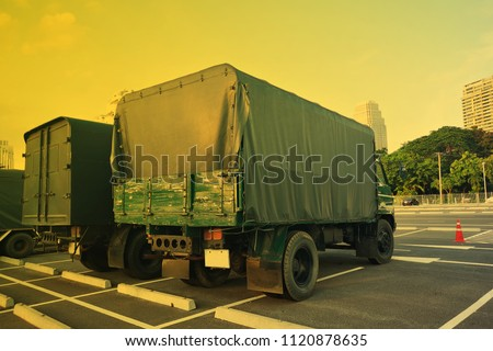 Antique trucks for transport Park to cool the engine before it is used for loading. #1120878635