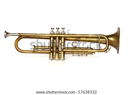 antique trumpet with mouthpiece isolated on white background
