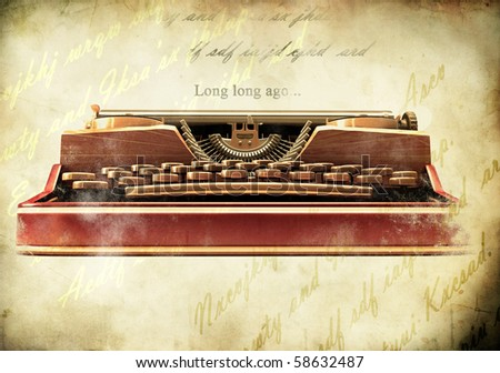 Antique typewriter on vintage paper background