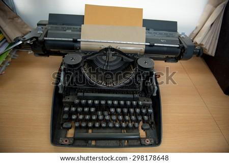 Antique Typewriter, Vintage Typewriter Machine Closeup Photo
