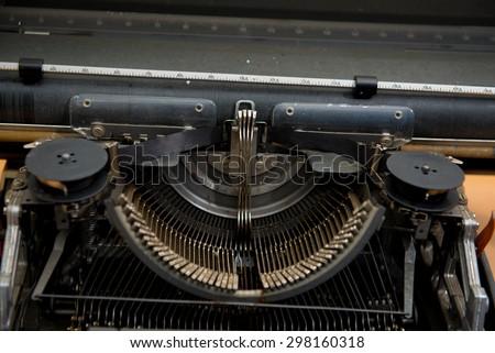 Antique Typewriter, Vintage Typewriter Machine Closeup Photo,Typewriter Thailand language