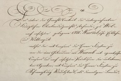 Antique unreadable calligraphic handwriting. Used vintage paper background