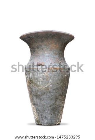 Antique vases or old vases that are isolated on a white background that separates objects. There are Clipping Paths for the designs and decoration  #1475233295
