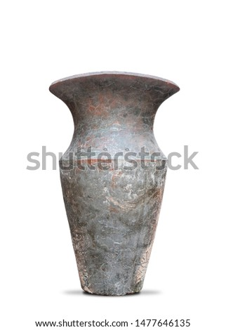 Antique vases or old vases that are isolated on a white background that separates objects. There are Clipping Paths for the designs and decoration  #1477646135