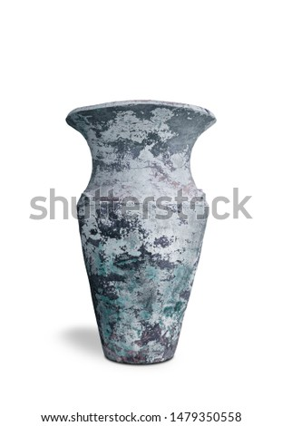 Antique vases or old vases that are isolated on a white background that separates objects. There are Clipping Paths for the designs and decoration  #1479350558