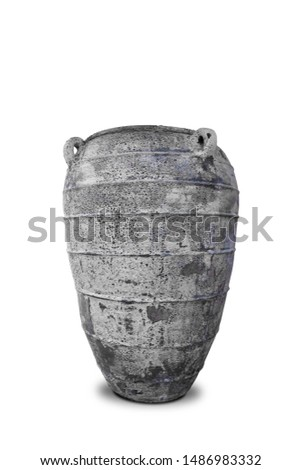 Antique vases or old vases that are isolated on a white background that separates objects. There are Clipping Paths for the designs and decoration  #1486983332
