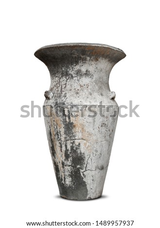 Antique vases or old vases that are isolated on a white background that separates objects. There are Clipping Paths for the designs and decoration  #1489957937