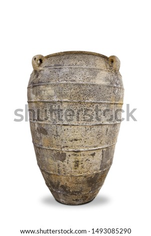 Antique vases or old vases that are isolated on a white background that separates objects. There are Clipping Paths for the designs and decoration  #1493085290