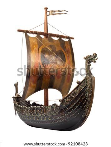 Antique Viking Ship Model isolated on white