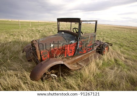 Antique Vintage Old Car in Field