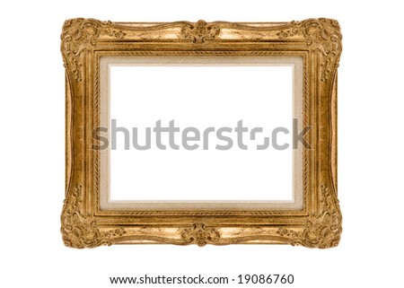 Antique vintage square gilded frame on a white background