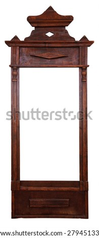 Antique vintage wooden frame for a mirror. It is isolated, the worker of paths is present.