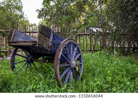 antique wagon backyard