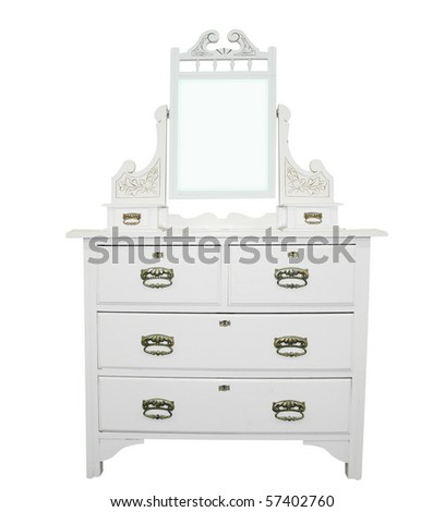 Antique White Dressing Table isolated with clipping path - stock photo