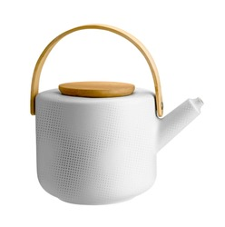 Antique white kettle isolated over white, ceramic kettle, vintage  teapot, ceramic white teapot