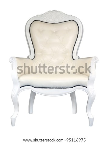 antique white leather chair isolated on white