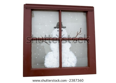 Antique window from old house with a snowman painted on it
