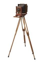 Antique wood view camera and tripod. Isolated with work path.
