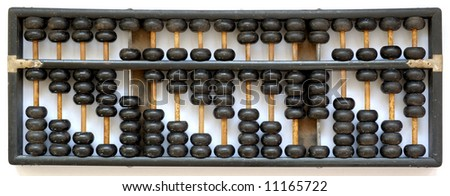 Antique wooden black in color abacus indicating number 1 to 9 from left to right