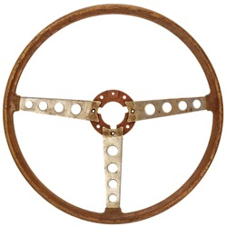 Antique wooden classic car steering wheel isolated on a white background