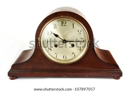 Antique wooden clock on white