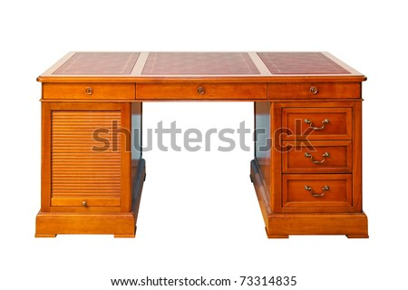 Antique wooden desk isolated included clipping path