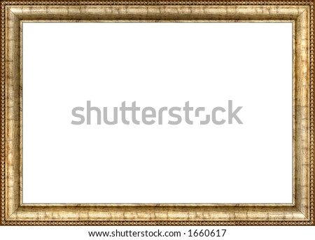 Antique wooden frame with guilded pattern - stock photo