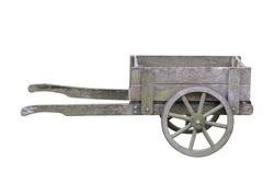 antique wooden garden trolley isolated on white background