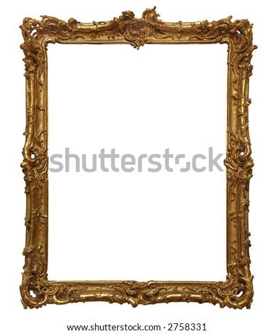 Antique wooden golden frame.