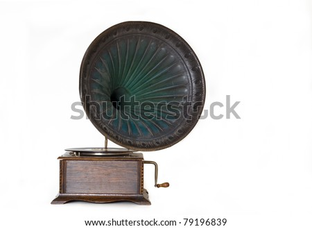 Antique wooden Gramophone (Turntable) with large speaker isolated on white.
