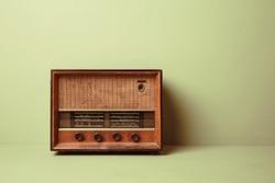 Antique wooden Radio in studio shot.