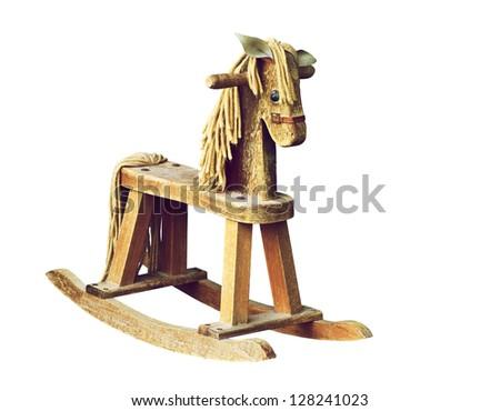 Antique wooden rocking horse isolated on white. Photo stock ©