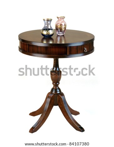 antique wooden round table isolated on white