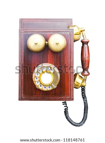 Antique wooden telephone isolated on white background