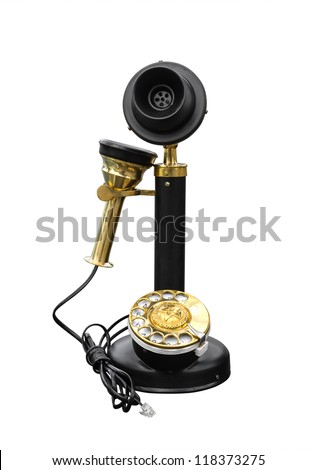 Antique wooden telephone isolated on white background with clipping path - stock photo