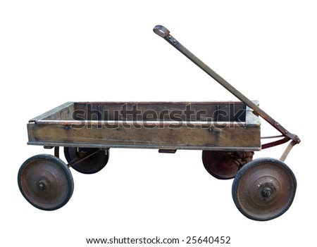 Antique Wooden Trolley isolated with clipping path