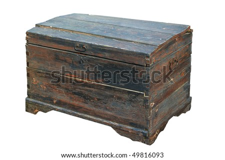 Antique wooden trunk. Isolated on white, with clipping path.
