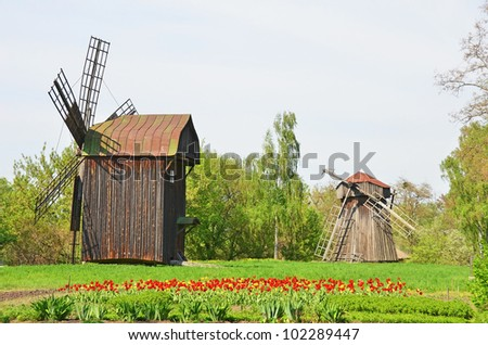 Antique wooden windmill at ethnographic museum, Pereiaslav-Khmelnytskyi, Ukraine